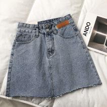 skirt Autumn 2020 S,M,L blue Short skirt commute High waist A-line skirt Solid color Type A 18-24 years old pocket Korean version