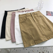 skirt Summer 2021 S,M,L White, apricot, black, brown, pink Short skirt commute High waist Solid color Type A 18-24 years old 51% (inclusive) - 70% (inclusive) Button Korean version