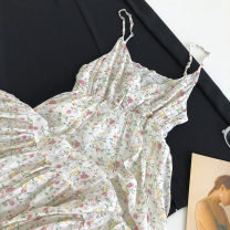 Dress Summer 2021 Blue, white Average size Mid length dress singleton  Sleeveless commute V-neck Broken flowers Socket camisole 18-24 years old Type A Korean version 51% (inclusive) - 70% (inclusive)
