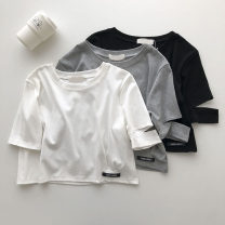 T-shirt Gray, black, white Average size Summer 2021 Short sleeve Crew neck Straight cylinder have cash less than that is registered in the accounts commute other 51% (inclusive) - 70% (inclusive) 18-24 years old Korean version Solid color