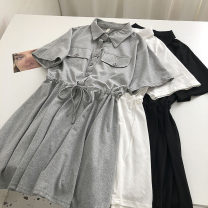 Dress Summer 2021 Black, white, grey Average size Mid length dress singleton  Short sleeve commute Polo collar High waist Solid color Single breasted 18-24 years old Type H Korean version Bandage 51% (inclusive) - 70% (inclusive)