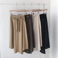 skirt Summer 2021 Average size Black, apricot, khaki, coffee Mid length dress commute High waist Solid color Type A 18-24 years old 51% (inclusive) - 70% (inclusive) Frenulum Korean version