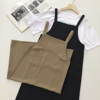 Dress Summer 2021 Black, brown Average size Mid length dress singleton  Sleeveless commute Solid color Socket straps 18-24 years old Type H Korean version 51% (inclusive) - 70% (inclusive)