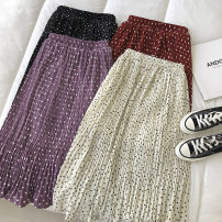 skirt Spring 2021 Average size Off white, red, purple, black longuette commute High waist Dot Type A 18-24 years old 51% (inclusive) - 70% (inclusive) fold Korean version