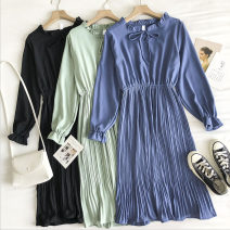 Dress Autumn 2020 Black, red, apricot, green, blue Average size longuette singleton  Long sleeves commute stand collar Solid color Socket Pleated skirt 18-24 years old Type A Korean version Frenulum 51% (inclusive) - 70% (inclusive)