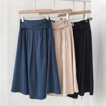 skirt Spring 2021 Average size Black, brown, khaki, blue longuette commute High waist Solid color Type A 18-24 years old 51% (inclusive) - 70% (inclusive) Frenulum Korean version