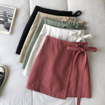 skirt Summer 2021 S,M,L Black, white, watermelon red, green, khaki Short skirt commute High waist Solid color Type A 18-24 years old 51% (inclusive) - 70% (inclusive) zipper Korean version