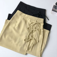 skirt Summer 2021 S,M,L Yellow, black Mid length dress commute High waist Solid color Type A 18-24 years old 51% (inclusive) - 70% (inclusive) Bandage Korean version