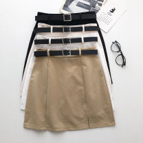 skirt Summer 2021 S,M,L Khaki, white, apricot, black Short skirt commute High waist Solid color Type A 18-24 years old 51% (inclusive) - 70% (inclusive) Korean version