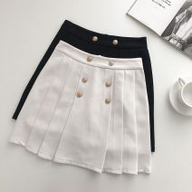 skirt Summer 2021 S,M,L Black, white Short skirt commute High waist Pleated skirt Solid color Type A 18-24 years old 51% (inclusive) - 70% (inclusive) Button Korean version