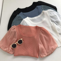 Wool knitwear Summer 2021 Average size Black, white, blue, orange Short sleeve singleton  other 51% (inclusive) - 70% (inclusive) have cash less than that is registered in the accounts commute Self cultivation square neck Solid color Socket Korean version 18-24 years old