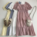 Dress Summer 2021 White, blue, yellow, pink Average size Mid length dress singleton  Short sleeve commute square neck Solid color Socket 18-24 years old Type A Korean version Frenulum 51% (inclusive) - 70% (inclusive)