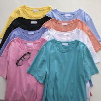 T-shirt Dark blue, light blue, black, white, yellow, lake blue, pink, orange pink Average size Summer 2021 Short sleeve Crew neck easy Regular commute other 51% (inclusive) - 70% (inclusive) 18-24 years old Korean version Solid color