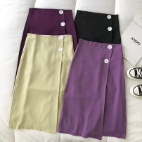 skirt Summer 2021 S,M,L Dark purple, purple, black, fresh green Mid length dress commute High waist Solid color Type A 18-24 years old 51% (inclusive) - 70% (inclusive) Button Korean version