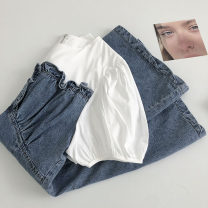 Dress Summer 2021 blue M, L Short skirt Fake two pieces Short sleeve commute Crew neck zipper 18-24 years old Type A Korean version 51% (inclusive) - 70% (inclusive)