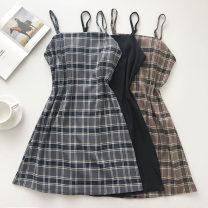 Dress Summer 2021 Black, light brown grid, gray grid Average size Short skirt singleton  Sleeveless commute lattice zipper camisole 18-24 years old Type A Korean version 51% (inclusive) - 70% (inclusive)