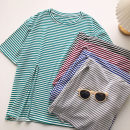 T-shirt Blue, red, gray, black, lake green Average size Summer 2021 Short sleeve Crew neck easy Medium length commute other 51% (inclusive) - 70% (inclusive) 18-24 years old Korean version Thin horizontal stripe