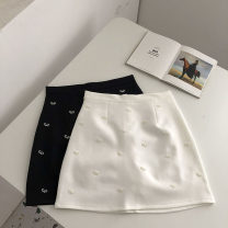 skirt Summer 2021 S,M,L Black, white Short skirt commute High waist A-line skirt Solid color Type A 18-24 years old 51% (inclusive) - 70% (inclusive) Three dimensional decoration Korean version