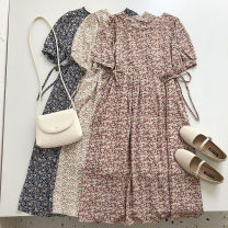 Dress Summer 2021 Average size Mid length dress singleton  Short sleeve commute square neck High waist Broken flowers Single breasted 18-24 years old Type A Korean version Bandage 51% (inclusive) - 70% (inclusive) Chiffon
