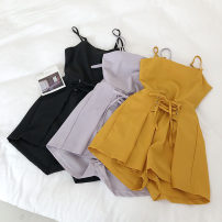 Casual pants Black, yellow, light purple Average size Summer of 2019 shorts Wide leg pants High waist commute 18-24 years old