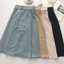 skirt Summer 2021 Average size Khaki, apricot, blue, black Mid length dress commute High waist Solid color Type A 18-24 years old 51% (inclusive) - 70% (inclusive) Button Korean version