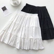 skirt Summer 2021 Average size Black, white Short skirt commute High waist A-line skirt Solid color Type A 18-24 years old 51% (inclusive) - 70% (inclusive) fold Korean version