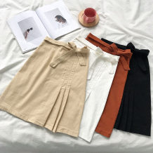 skirt Autumn of 2018 S M L White black orange apricot yellow Mid length dress commute High waist A-line skirt Solid color Type A 18-24 years old Korean version