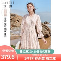 Dress Spring 2021 pink 170/92A/XL,165/88A/L,155/80A/S,175/96A/2XL,160/84A/M Mid length dress singleton  three quarter sleeve commute V-neck High waist Broken flowers zipper A-line skirt bishop sleeve 25-29 years old Type X Tricolor Simplicity Lace, print D361D1006L10 More than 95% other