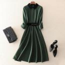 Dress Spring 2021 Green, black S,M,L,XL,2XL Mid length dress singleton  three quarter sleeve street square neck middle-waisted Solid color zipper A-line skirt routine Others 30-34 years old Type A left lady Stitching, zipper, belt L1810004 More than 95% other other Europe and America