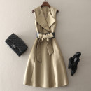 Dress Spring 2021 Khaki, black S,M,L,XL,2XL Mid length dress singleton  Sleeveless street tailored collar middle-waisted Solid color Socket A-line skirt routine Others 30-34 years old Type A left lady Frenulum More than 95% other other Europe and America