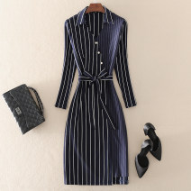 Dress Spring 2021 navy blue S,M,L,XL Mid length dress singleton  Nine point sleeve street V-neck middle-waisted stripe Socket One pace skirt routine Others 30-34 years old Type H left lady Lace up, zipper, print L1907125 More than 95% other other Europe and America