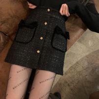 skirt Spring 2021 S,M,L black Short skirt commute High waist A-line skirt Type A Bow, zipper Korean version