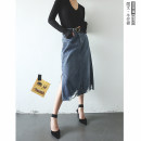 skirt Summer 2021 S,M,L,XL blue Mid length dress commute Natural waist Denim skirt Solid color Type H 25-29 years old 91% (inclusive) - 95% (inclusive) Denim cotton Simplicity