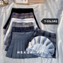 skirt Summer 2021 S,M,L,XL Gray, white, black, purple grid, gray grid, blue grid, Navy grid Short skirt Versatile High waist Pleated skirt lattice Type A 18-24 years old