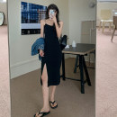 Dress Summer 2021 Gray, black S, M Mid length dress singleton  Sleeveless commute One word collar High waist Solid color Socket A-line skirt camisole 18-24 years old Type A Korean version