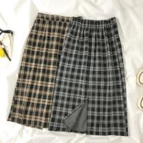 skirt Spring 2021 M, L Khaki, black Mid length dress commute High waist A-line skirt lattice Type A 18-24 years old Korean version