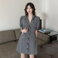 Dress Summer 2021 Gray, black Average size Short skirt singleton  Long sleeves commute tailored collar middle-waisted Solid color Single breasted A-line skirt routine 18-24 years old Type A Korean version