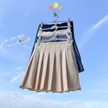 skirt Spring 2021 S,M,L,XL Apricot, grey, white, black Short skirt commute High waist Pleated skirt Solid color Type A 18-24 years old polyester fiber Korean version