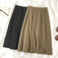 skirt Spring 2021 S, M Black, coffee Mid length dress commute High waist A-line skirt Solid color Type A 18-24 years old nine point two three Pleat, pleat Korean version