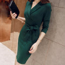 Dress Spring 2021 Black, red, green S,M,L,XL,2XL Middle-skirt singleton  Long sleeves commute V-neck High waist Solid color zipper One pace skirt routine Others 25-29 years old Type H Korean version Bow, pocket, tie More than 95% other other