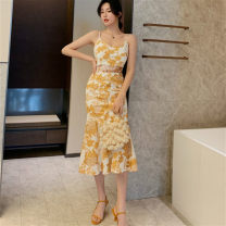 Dress Summer 2021 yellow S,M,L Middle-skirt singleton  Sleeveless commute V-neck middle-waisted Broken flowers zipper Ruffle Skirt routine camisole 25-29 years old Type X Korean version Ruffles, hollowed out, open back, lace, print More than 95% Lace other