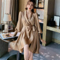 Dress Spring 2021 coffee S,M,L Short skirt singleton  Long sleeves commute V-neck High waist Solid color other Irregular skirt puff sleeve Others 25-29 years old Type A Korean version Frenulum More than 95% other other