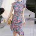 Dress Summer 2021 Fan printing S,M,L Middle-skirt singleton  Sleeveless commute stand collar middle-waisted Decor zipper Ruffle Skirt Flying sleeve Others 25-29 years old Type X Korean version Ruffle, print More than 95% other other
