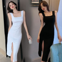Dress Summer 2020 White, black Average size Mid length dress singleton  Sleeveless commute square neck middle-waisted Pencil skirt other camisole 18-24 years old Korean version Seven point one 31% (inclusive) - 50% (inclusive) cotton