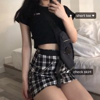 skirt Summer 2020 One size fits all, s, m, l Skirt, Short Sleeve T Short skirt street Natural waist A-line skirt lattice Type A 31% (inclusive) - 50% (inclusive) Other / other cotton