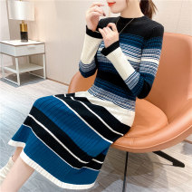 sweater Winter 2020 S,M,L,XL Blue, gray Long sleeves Socket singleton  Medium length other 95% and above Crew neck commute routine stripe Self cultivation Keep warm and warm 25-29 years old 49PJXX18108 Splicing