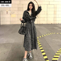 Women's large Spring 2021 Black, Decor XL (recommended 110-50 kg), 2XL (recommended 160-180 kg), 3XL (recommended 190-210 kg), 4XL (recommended 210-230 kg), 5XL (recommended 225-255 kg), 6xl (recommended 255-300 kg) Dress Two piece set commute easy moderate Socket Long sleeves Broken flowers V-neck
