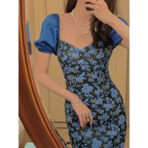 Dress Spring 2021 Baroque blue S,M,L Short skirt singleton  Short sleeve street V-neck High waist Solid color Socket other puff sleeve Others Type A 81% (inclusive) - 90% (inclusive) other