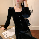Dress Autumn 2020 Velvet black S,M,L Mid length dress singleton  Long sleeves square neck High waist Solid color Socket A-line skirt routine Others Type A 81% (inclusive) - 90% (inclusive) other other