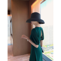 Dress Summer 2020 Emerald S,M,L,XL Mid length dress singleton  Short sleeve commute square neck High waist Decor Socket A-line skirt puff sleeve Others Type A 81% (inclusive) - 90% (inclusive) other